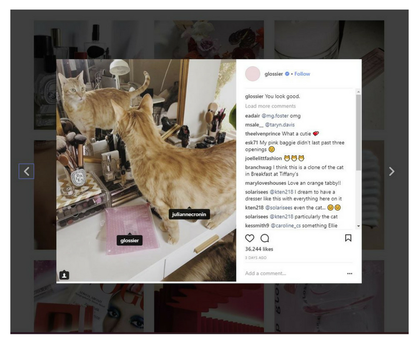 Specific Example of User Generated Content for Instagram. Example pulled from Glossier Instagram Account.